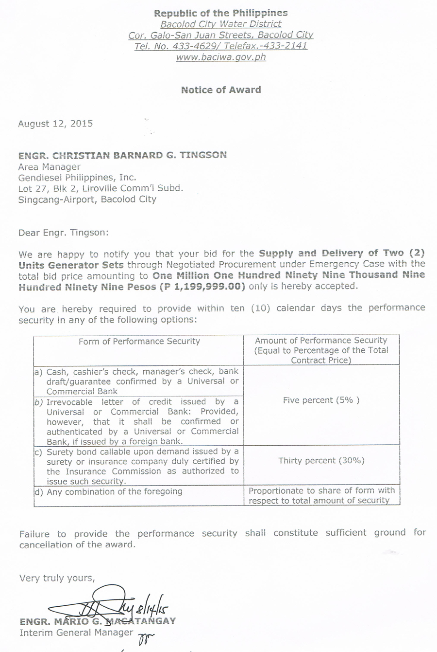 notice of award for notice of award generator sets bacolod city